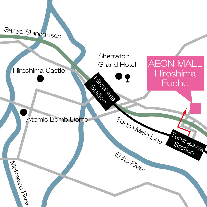 Japan Shopping Gourment Entertainment Mall AEON MALL Hiroshima Fuchu - Fuchu map